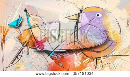 Abstract Colorful Fantasy Oil, Acrylic Painting. Semi- Abstract Paint Of Flower And Bird In Landscap
