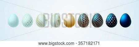 Easter Egg Bright Modern Painted Luxury Egg For Easter Set Of Turquoise Blue Gold Elegant Colored Eg