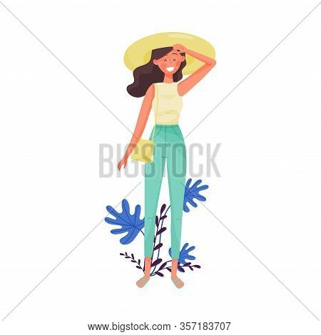 Young Smiling Dark-haired Girl Wearing Casual Jeans And Broad-brimmed Hat Enjoying Hot Summer Day Ve