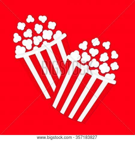 Popcorn Icon Set. Cinema Movie Night Icon. Two Big Size Strip Box Package. Pop Corn Food Popping. Fl
