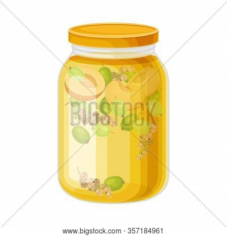 Glass Jar With Preserved Berry Compote Or Stewed Fruit Vector Illustration