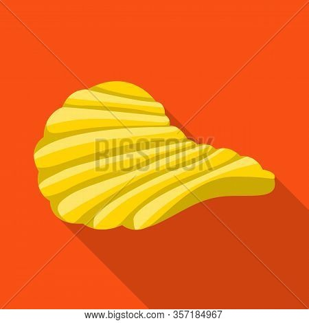 Vector Design Of Chip And Fluted Symbol. Graphic Of Chip And Crunchy Vector Icon For Stock.