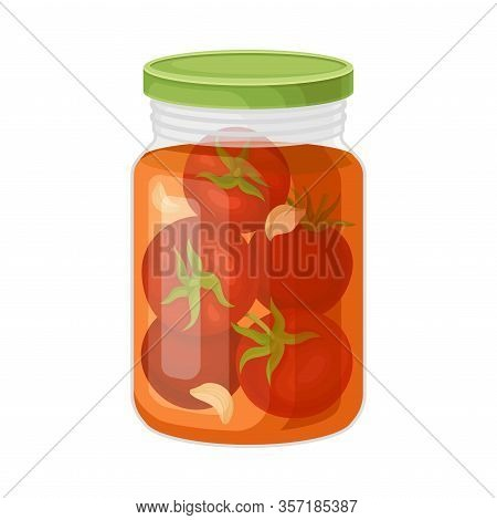 Glass Jar With Brined Tomatoes Vector Illustration