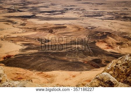 Deatail Of Unique Colorful Palette Of Israeli Negev Desert Near Mitzpe Ramon