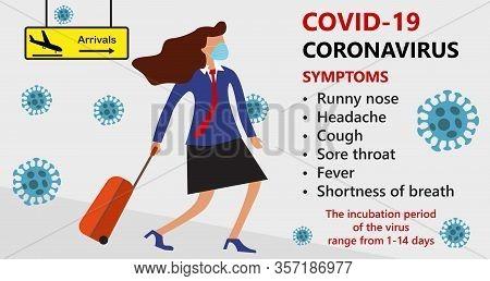 Symptoms Of Covid-19 Wuhan Novel Corona Virus Disease 2019-ncov , Mers-cov, Woman In Suit With Blue