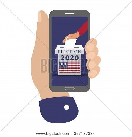 Smartphone Screen With Flat Hand Putting Vote Bulletin Into Ballot Box With Flag Icon. Concept Of El