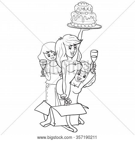 Three Women Peeping Out Of The Box With A Surprise As A Surprise With A Cake And Champagne, Hen Part