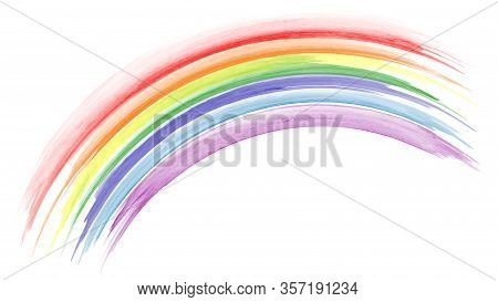Abstract Hand Painted Colorful Rainbow Watercolor For Background. Stain Artistic Vector Used As Bein