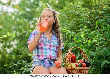 Drink Fresh Juice. Water Balance. Harvest Season. Girl Adorable Child Farming. Buy Organic Food. Kid