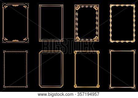 Golden Vintage Frames. Vintage Cover For Invitations, Greetings, Weddings, Gift Cards, Certificate,