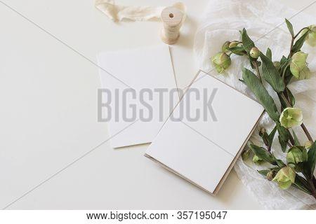 Wedding Spring Styled Stock Photo. Feminine Desktop Mockup Scene With Green Hellebores Flowers, Silk