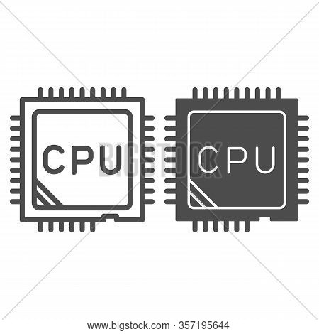 Processor Line And Solid Icon. Chip Or Microchip, Central Processing Unit Symbol, Outline Style Pict