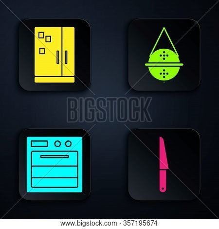 Set Knife, Refrigerator, Oven And Ball Tea Strainer. Black Square Button. Vector