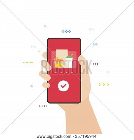 Food Delivery Application On Phone. Fast Food And Menu Order. Hand Holding Smartphone With Food Deli