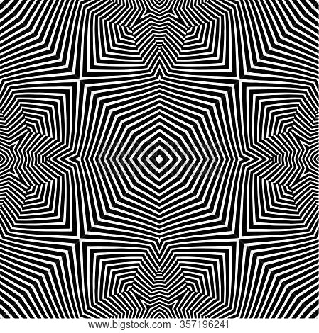 Pattern Of Black And White Lines. Optical Illusion. Vector Illustration. As Background, Pictures, Wa