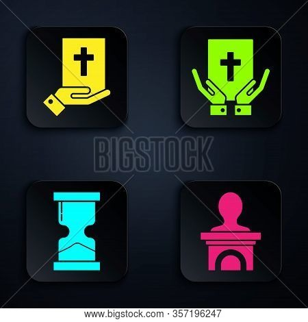 Set Stage Stand Or Debate Podium Rostrum, Oath On The Holy Bible, Old Hourglass And Oath On The Holy