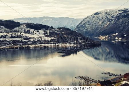 View over Hardangerfjord in Norway