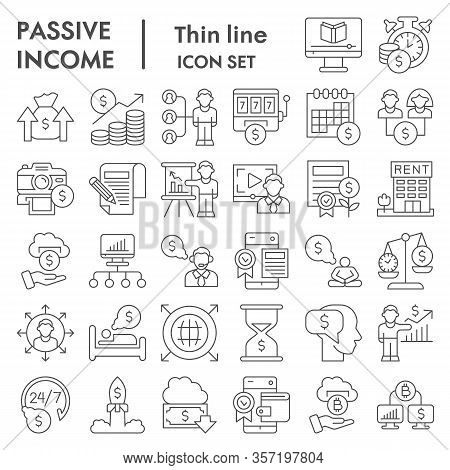 Passive Income Business Thin Line Icon Set. Financial Signs Collection, Sketches, Logo Illustrations