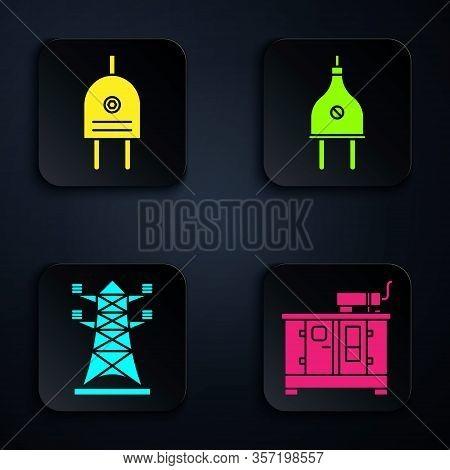 Set Diesel Power Generator, Electric Plug, High Voltage Power Pole Line And Electric Plug. Black Squ