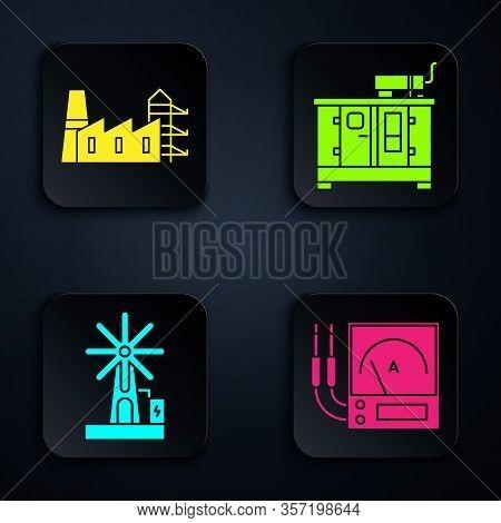 Set Ampere Meter, Multimeter, Voltmeter, Power Station Plant And Factory, Wind Turbine And Diesel Po
