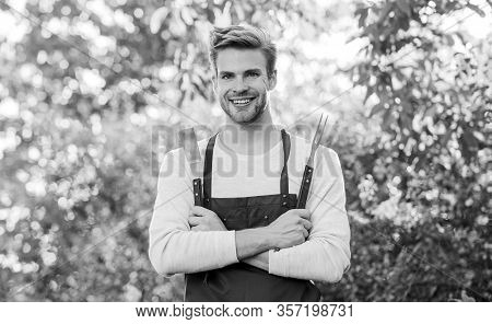 Confident Chef. Culinary Concept. Chef Cooking Bbq Food. Tools For Roasting Meat Outdoors. Man Barbe