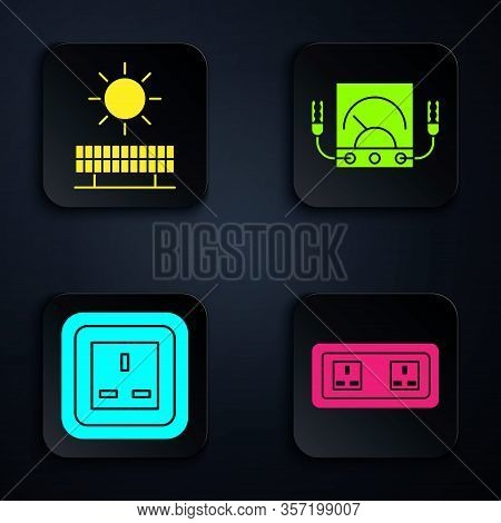Set Electrical Outlet, Solar Energy Panel And Sun, Electrical Outlet And Ampere Meter, Multimeter, V
