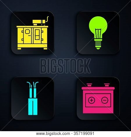 Set Car Battery, Diesel Power Generator, Electric Cable And Light Bulb With Concept Of Idea. Black S