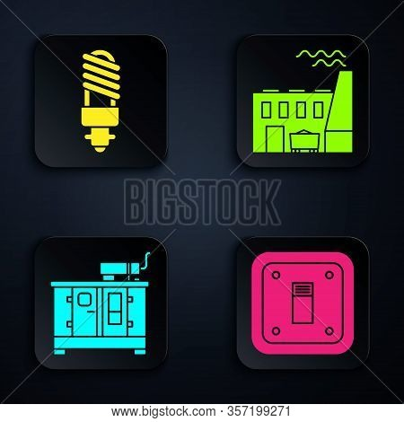 Set Electric Light Switch, Led Light Bulb, Diesel Power Generator And Coal Power Plant And Factory.