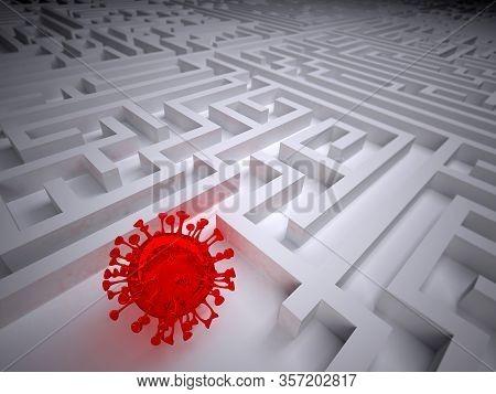 Coronavirus In The Labyrinth Maze, 3d Illustration
