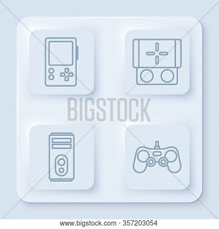 Set Line Portable Video Game Console, Portable Video Game Console, Computer And Gamepad. White Squar