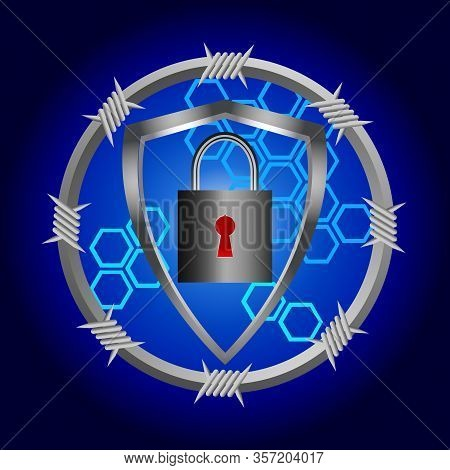 Cyber Security Background With Metallic Circular Border With Barbwire Shield And Padlock With Red Ke