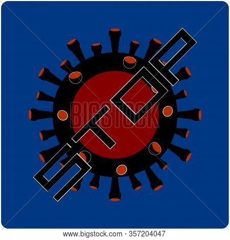 Stop Virus Black And Red Logo With Text Over Blue Background With Rounded Corners