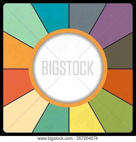 Multicolour Retro Vintage Dial Background With Circular Border Copy Space And Grunge Effects