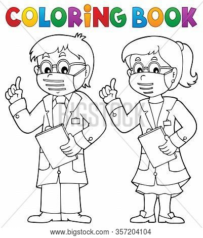 Coloring Book Two Advising Doctors - Eps10 Vector Picture Illustration.