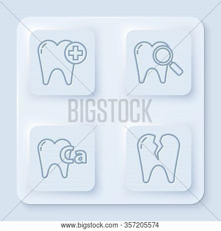 Set Line Tooth, Dental Search, Calcium For Tooth And Broken Tooth. White Square Button. Vector