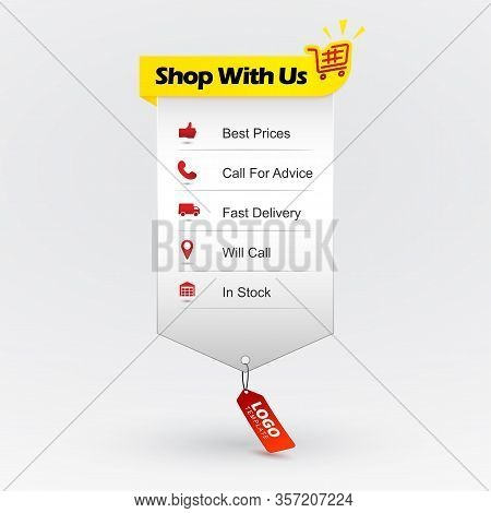 Benefits Of Buying. Online Shopping. Web Design Element With Icons Showing Advantages Of Shopping. B