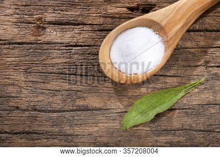 Stevia Rebaudiana - Leaves And Powder Of The Stevia Plant