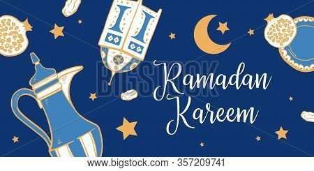 Banner With Ramadan Wishing. Title In Arabic Generous Ramadan. Traditional Iftar Objects