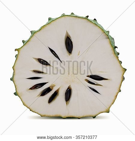 Single Object Of Soursop Isolated On White Background