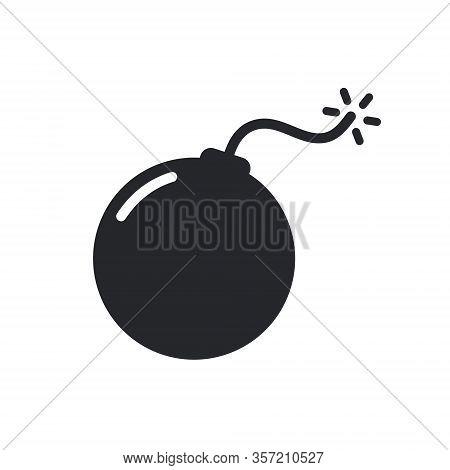 Bomb Vector Icon, Cartoon Dynamite Violence Illustration. Bomb Fuse Threat Symbol