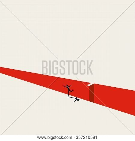Overcome Business And Financial Challenge, Risk, Danger Vector Concept. Man Jumps Over Gap. Symbol O