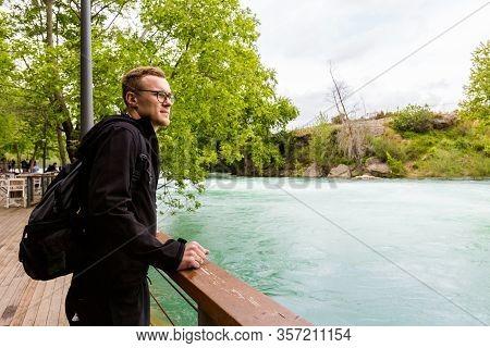 Tourist In Manavgat Waterfall Turkey