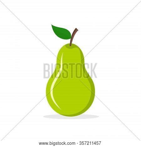 Pear Fresh Fruit Vector Icon. Cartoon Pear Illustration Organic Green Flat Fruit Background Symbol