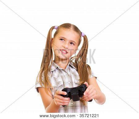 Girl playing game.