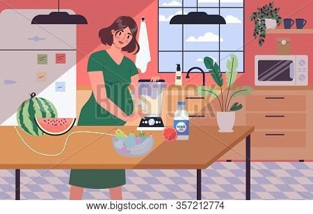 Daily Life During Pregnancy. Young Woman Preparing To Be Mom.