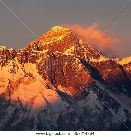 Evening Sunset Red Colored View Of Mount Everest With Beautiful Clouds From Kongde Village, Khumbu V