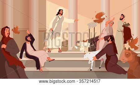 Bible Narratives About The Cleansing Of The Temple. Jesus Expelling
