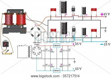 Bipolar Power Supply, Which Uses A Step-down Voltage Transformer, Diode Bridge, Constant Capacitors,