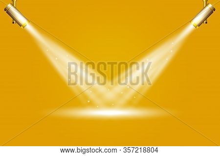 Two Spotlights On Yellow Background. Spotlights Vector Effect. Spotlights Lighting Design Template,
