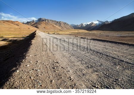 Pamir Highway Or Pamirskij Trakt Unpaved Road In Tajikistan, M41 International Road